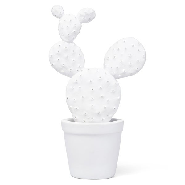 Resin Decorative Cactus Shaped Sculpture with Glossy Touch, White