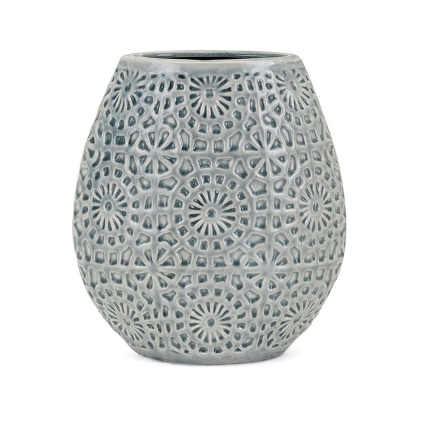 Ceramic Table Vase with Ornate Dimensional Surface Texture,Small, Blue