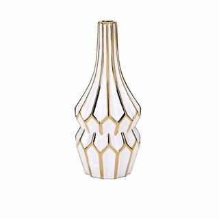Fluted Bottle Shape Ceramic Vase with Elongated Neck, Gold and White
