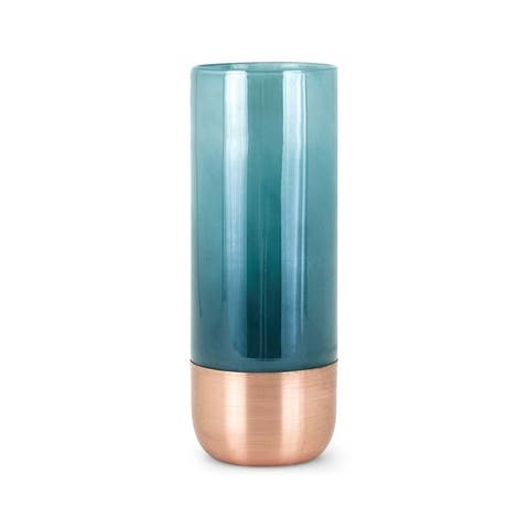 Cylindrical Shape Glass Vase with Curved Metal Bottom, Blue, Medium