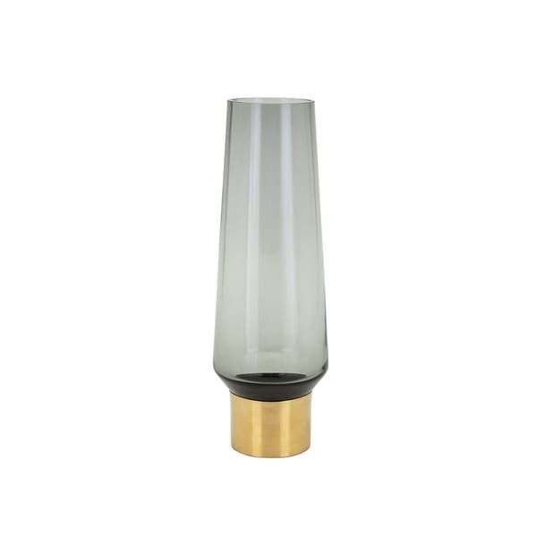 Flared Decorative Glass Vase with Metal Base, Small, Gold and Gray