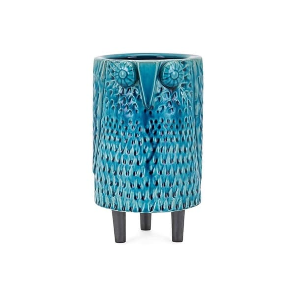 Ceramic Owl Shape Vase with Wide Open Mouth, Blue and Black, Medium