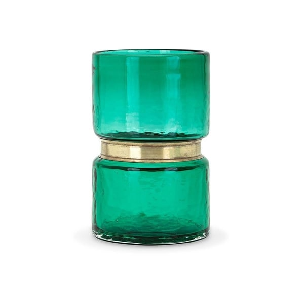 Two Tiered Glass Vase with Metal Ring Centre, Small, Green and Gold