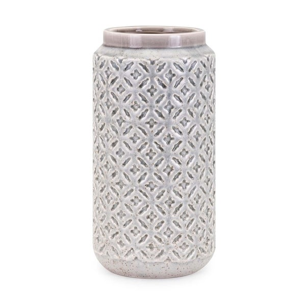 Ceramic Cylindrical Vase with Raised Surface Pattern, Large, Gray