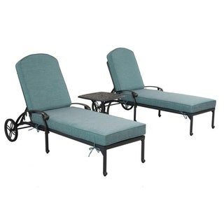 Gun Metal 3 Piece Outdoor Patio Synthetic Adjustable Aluminum Pool Chaise Chair Set (Green)