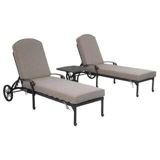 Gun Metal 3 Piece Outdoor Patio Synthetic Adjustable Aluminum Pool Chaise Chair Set (Cast Shale)