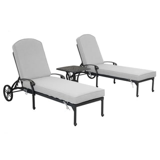 Gun Metal 3 Piece Outdoor Patio Synthetic Adjustable Aluminum Pool Chaise Chair Set (Cast Silver)