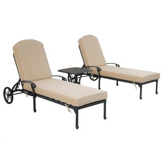 Gun Metal 3 Piece Outdoor Patio Synthetic Adjustable Aluminum Pool Chaise Chair Set (Spectrum Sand)