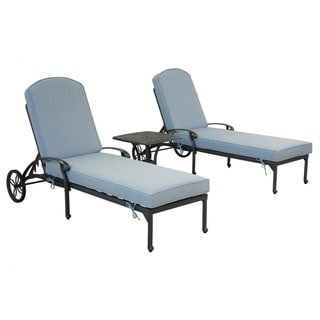Gun Metal 3 Piece Outdoor Patio Synthetic Adjustable Aluminum Pool Chaise Chair Set (Light Blue)