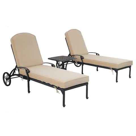 Gun Metal 3 Piece Outdoor Patio Synthetic Adjustable Aluminum Pool Chaise Chair Set
