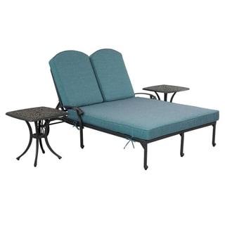 Gun Metal 3 Piece Outdoor Patio Synthetic Adjustable Aluminum Pool Double Chaise Set (Green)