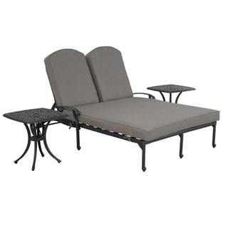 Gun Metal 3 Piece Outdoor Patio Synthetic Adjustable Aluminum Pool Double Chaise Set (Cast Shale)