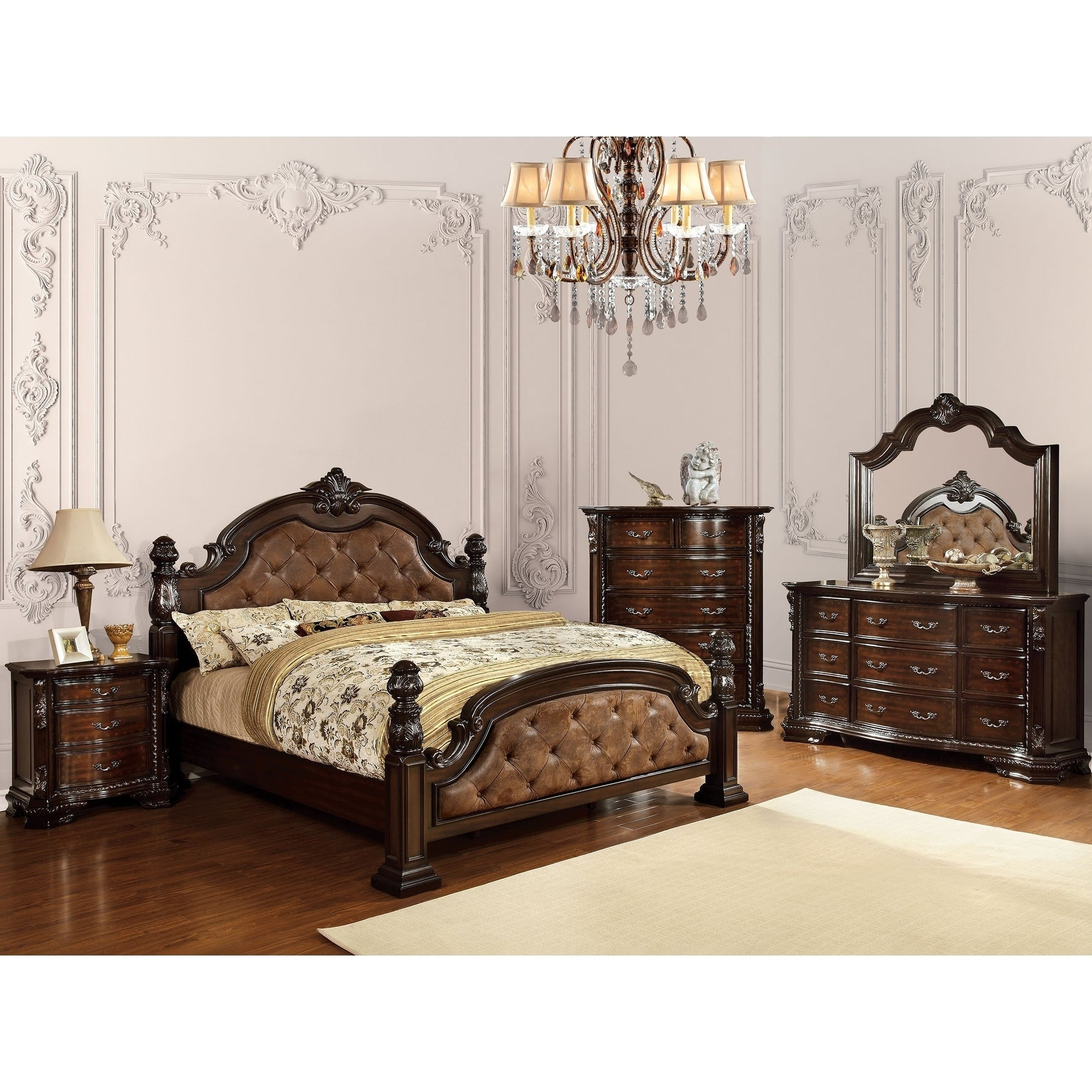Williams Home Furnishing Monte Vista I C.King Bed in Dark Brown Finish (Nailhead Trim - Ivory - Natural - N/A)
