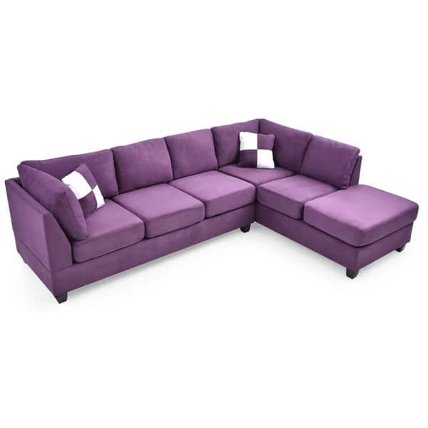 Awe Inspiring Shop Lyke Home Braxton Purple Sectional Free Shipping Ncnpc Chair Design For Home Ncnpcorg