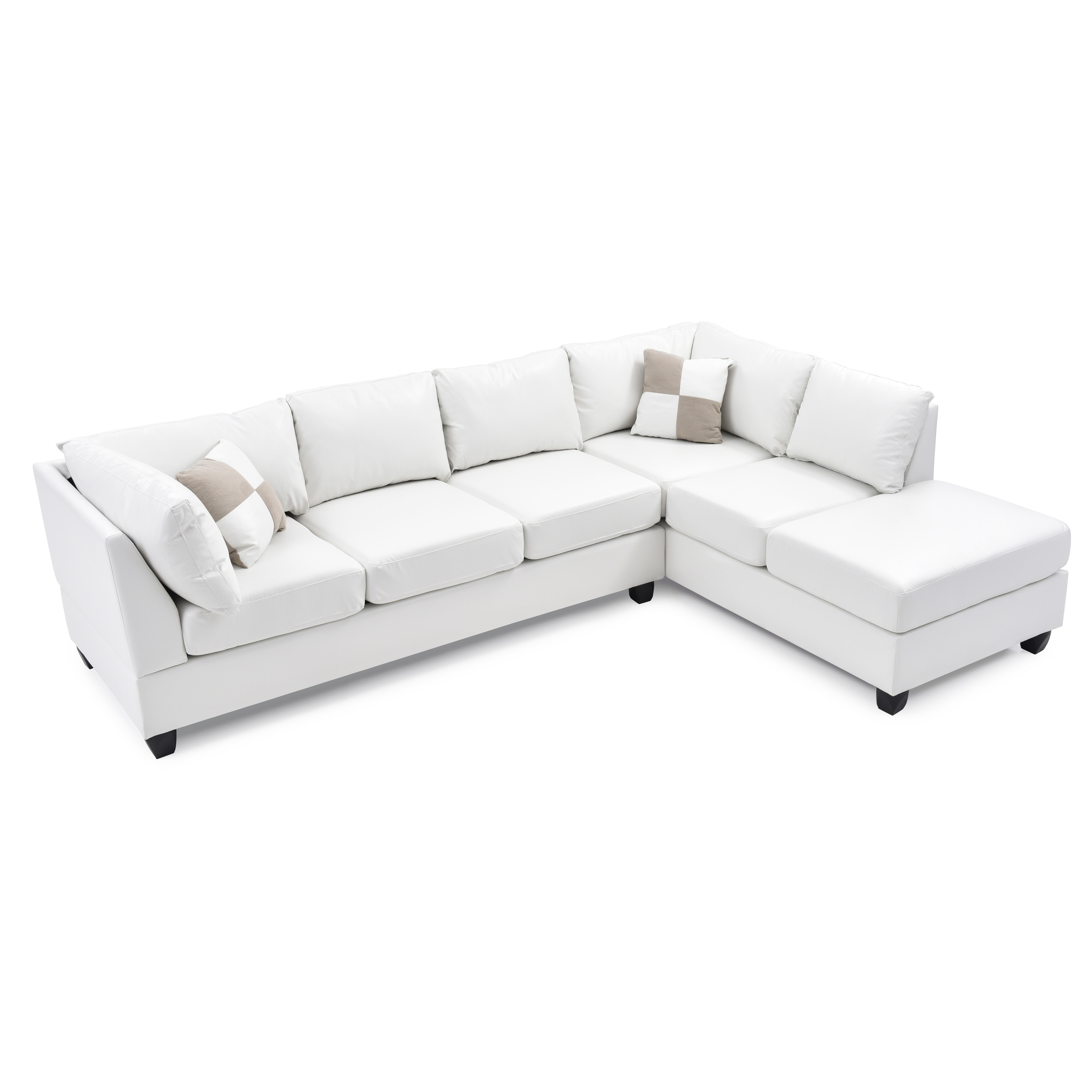 LYKE Home Braxton White Faux Leather Sectional
