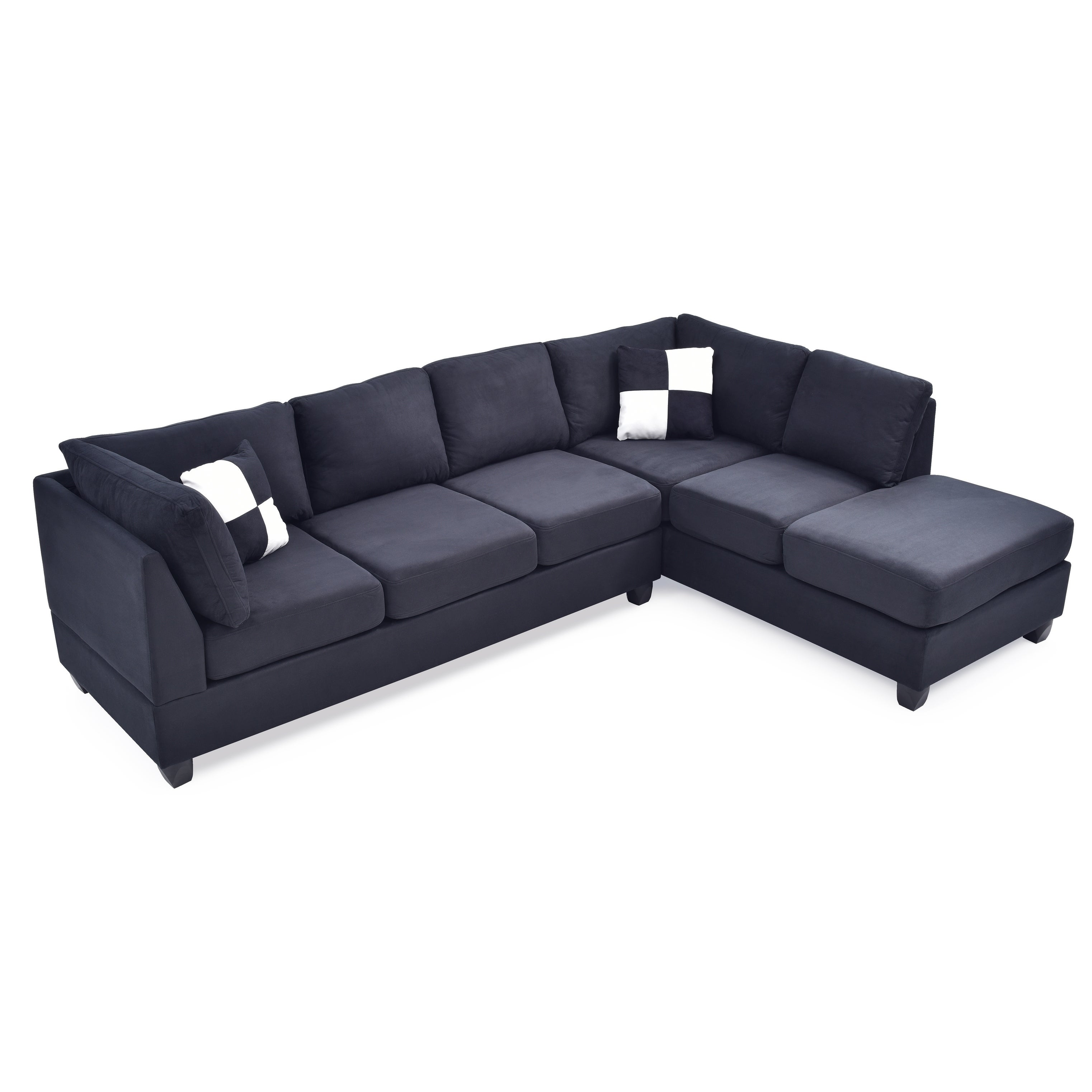 LYKE Home Braxton Black Sectional