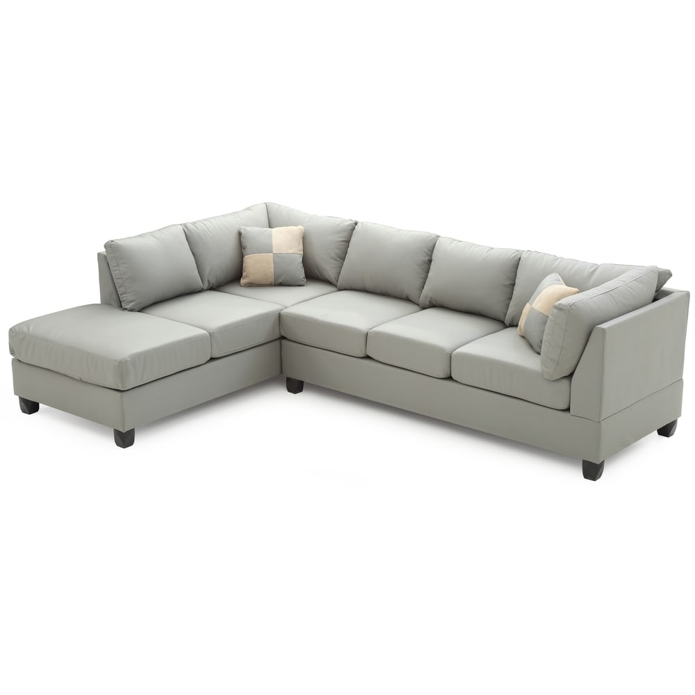 LYKE Home Braxton Gray Faux Leather Sectional