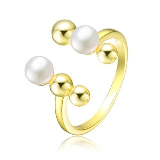 Collette Z Sterling Silver With Gold Plated And 5MM Fresh Water Pearls Modern Ring