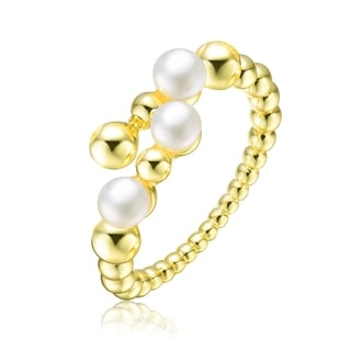 Collette Z Sterling Silver With Gold Plated And 4MM Fresh Water Pearls Modern Ring