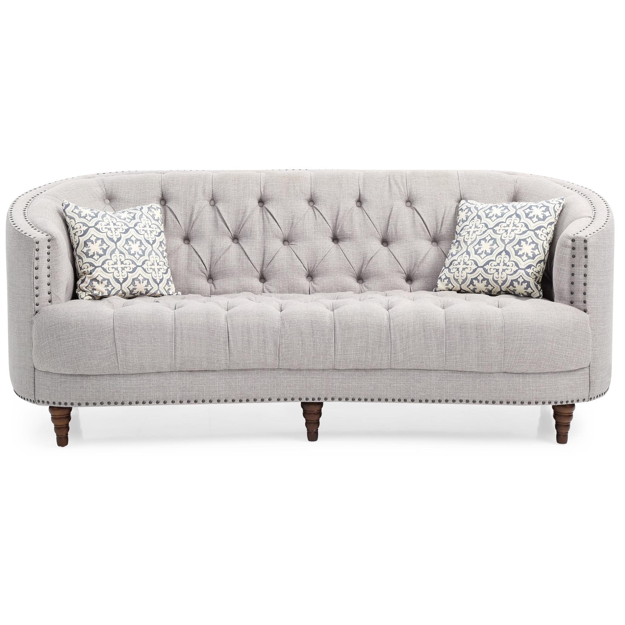 LYKE Home Recessed Arms Grey Sofa