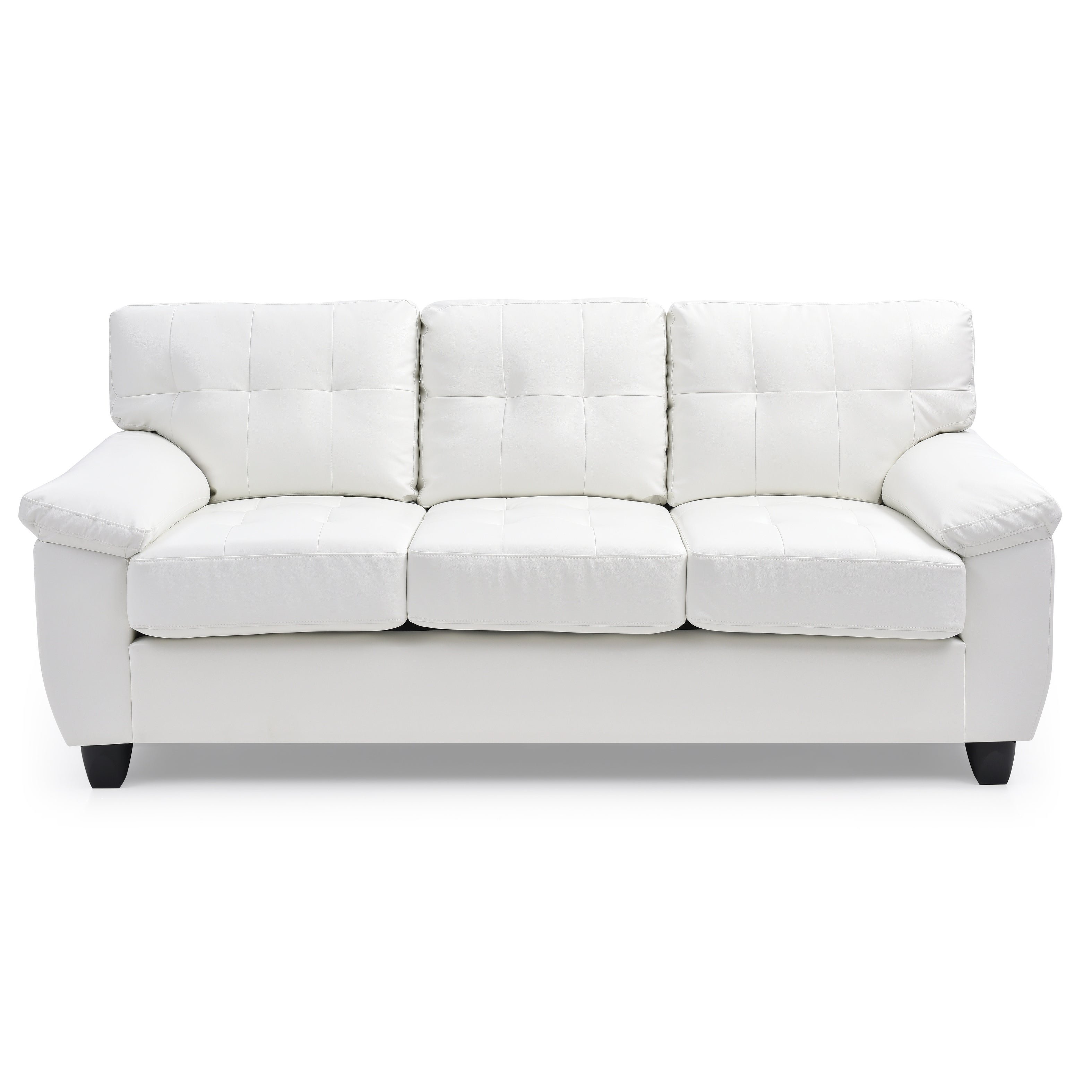 LYKE Home White Faux Leather Pillow Top Arms Sofa