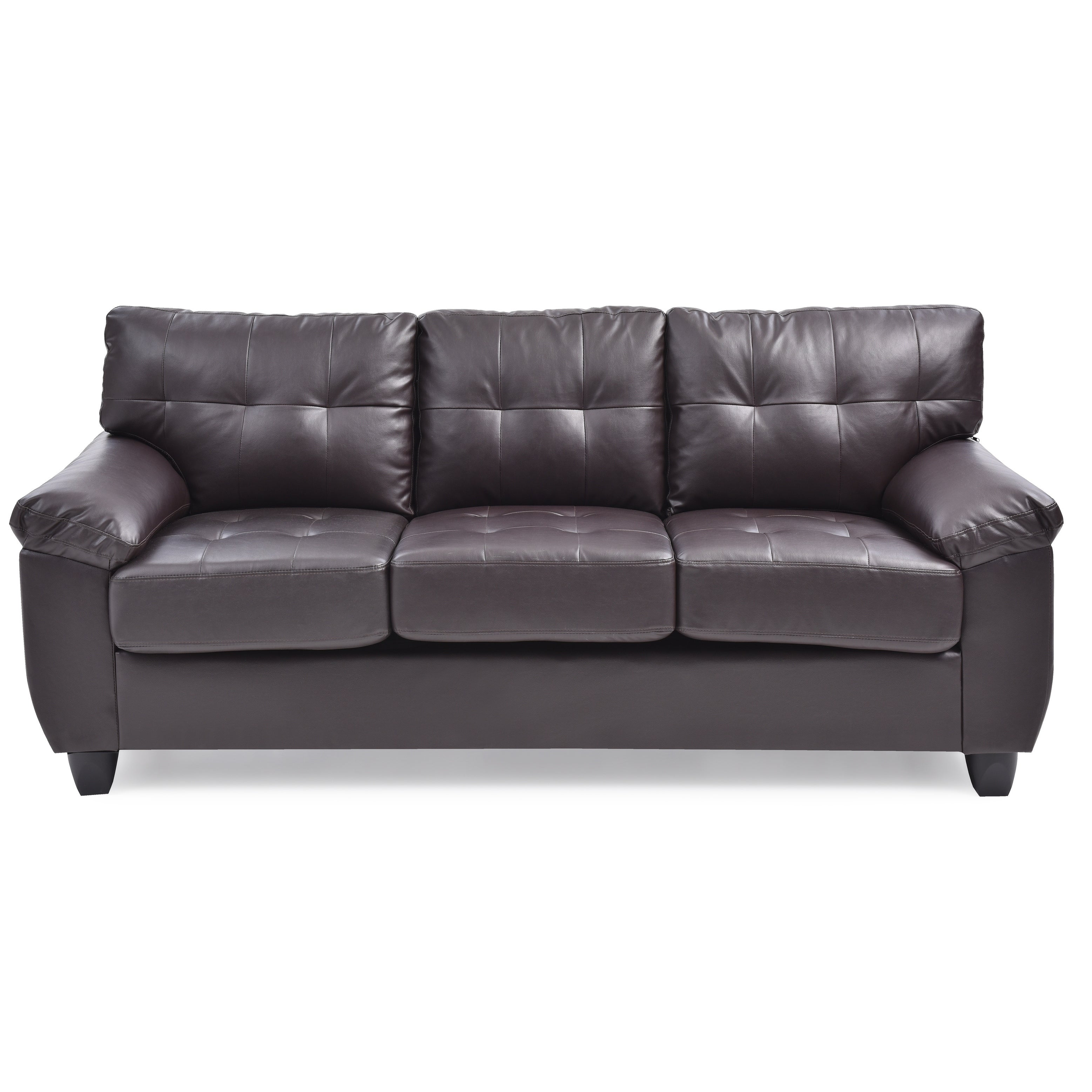 LYKE Home Cappuccino Faux Leather Pillow Top Arms Sofa