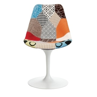 Mid-century Modern Swivel Multicolor Upholstered Dining Chair