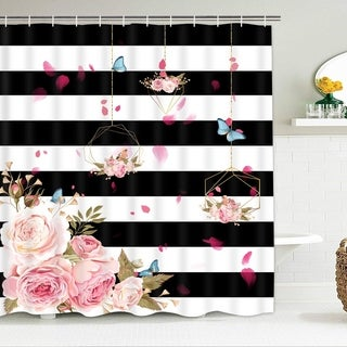 """Polyester Shower Curtain with Hooks Black and White Stripes 72"""" x 72"""""""