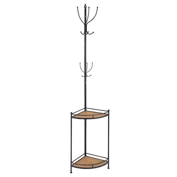 Industrial Style Corner Metal and Wood Coat Rack, Black and Brown