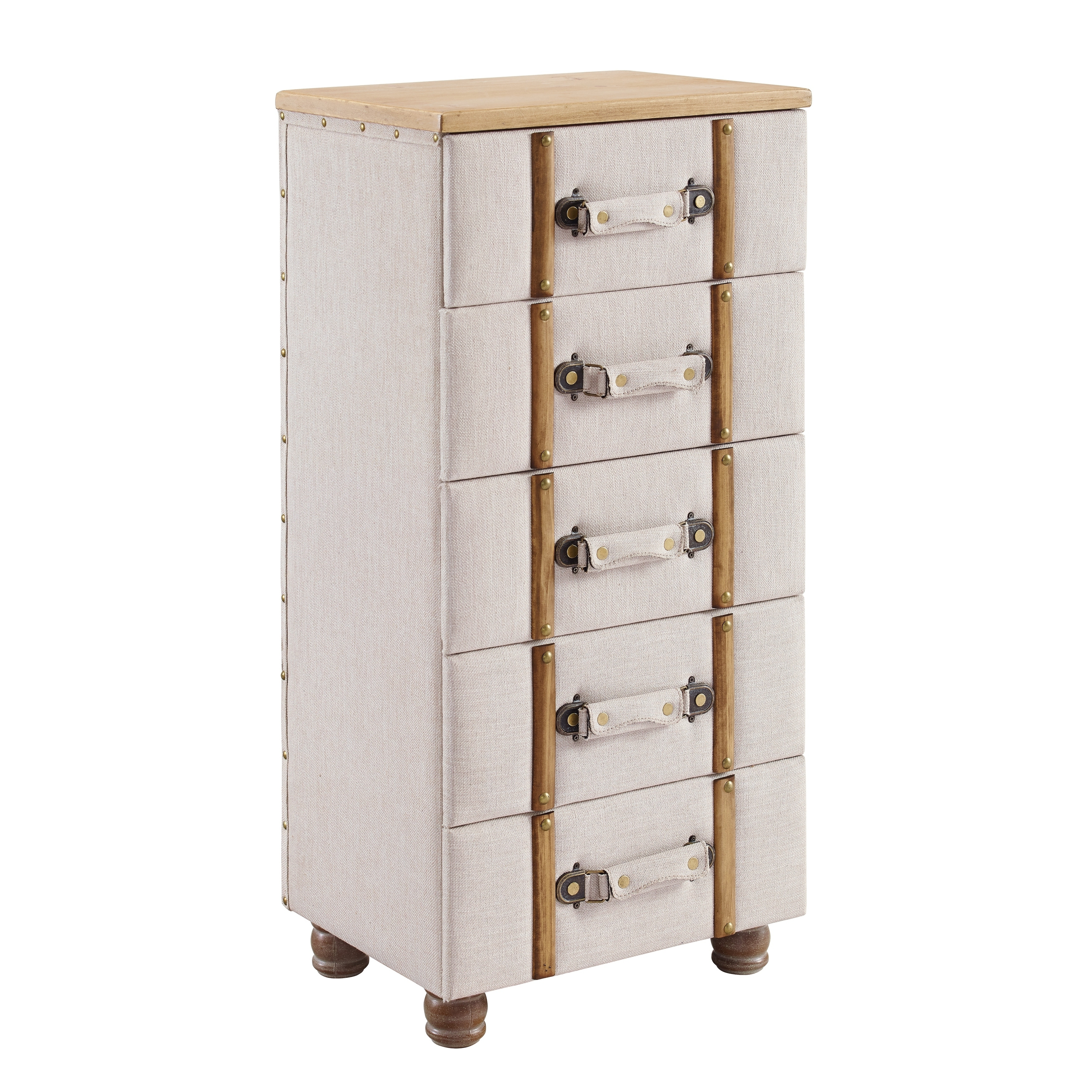 Padded Wood and Fabric Chest Cabinet with 5 Drawers, Cream and Brown