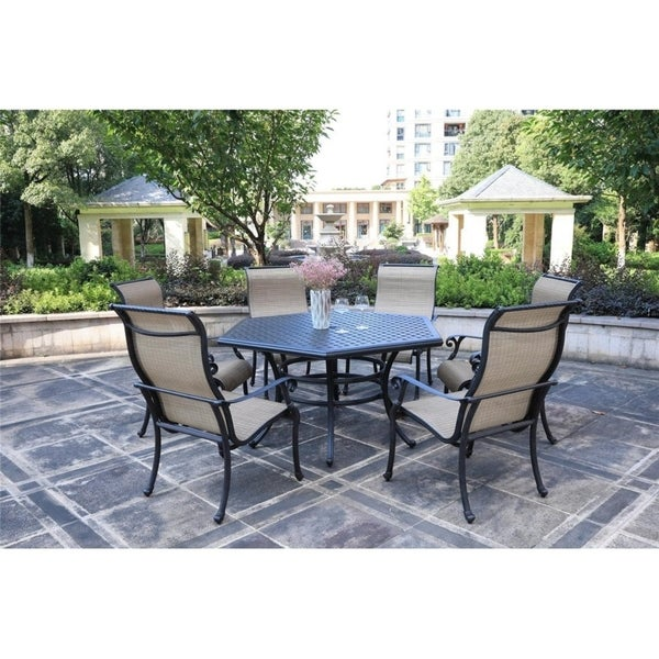 Aged Bronze Aluminum 7 Piece Dining Set with Sling Arm Chairs