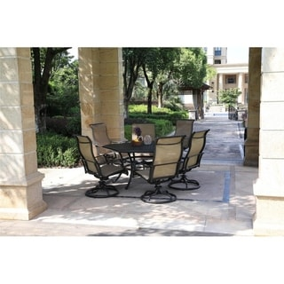 Aged Bronze Aluminum 7 Piece Dining Set with Sling Swivel Rockers