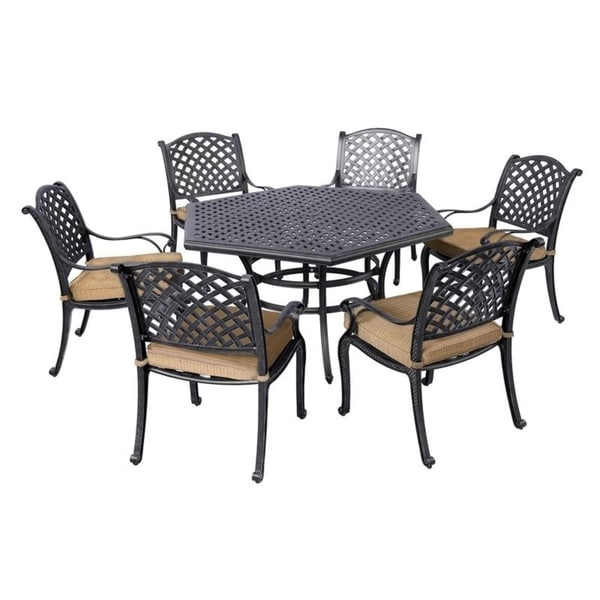 Aged Bronze Aluminum 7 Piece Dining Set with Cushion Arm Chairs