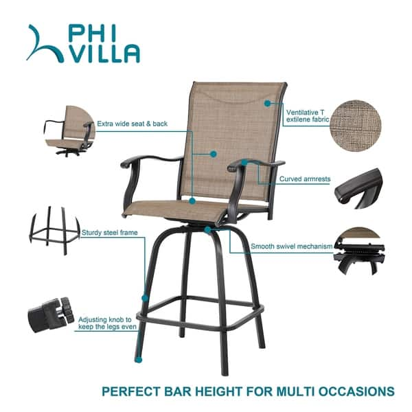 Stupendous Phi Villa Swivel Bar Stools All Weather Patio Furniture 2 Pack N A Andrewgaddart Wooden Chair Designs For Living Room Andrewgaddartcom