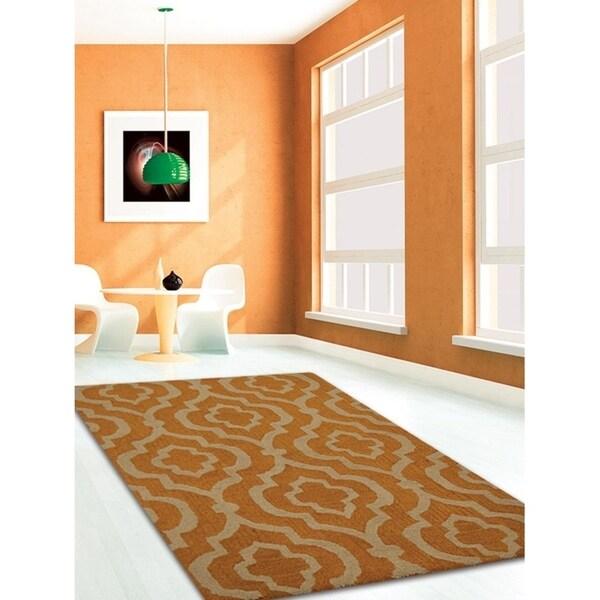 Transitional Geometric Carpet Indian Hand Tufted Oriental Trellis Rug
