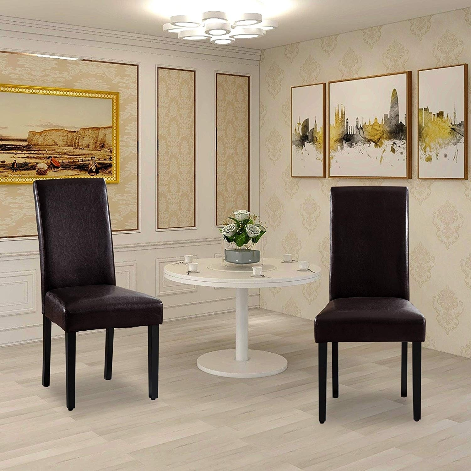 Vanity Art  Synthetic Leather Comfortable Armless Set of 2-Pieces Dining Room Accent Chairs Fabric Upholstered with Wooden Legs