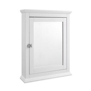 Wooden Medicine Cabinet with Mirrored Door Storage, White