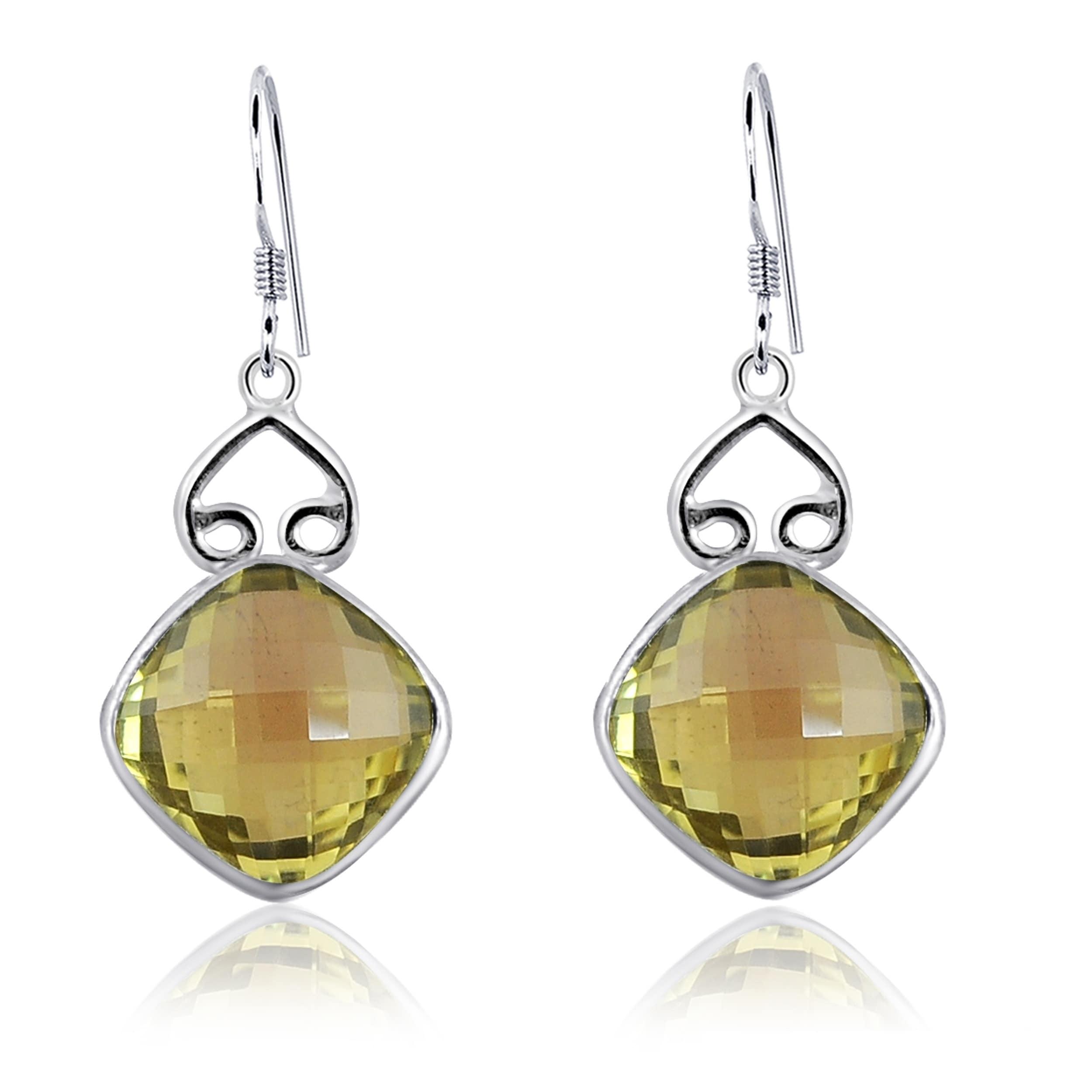 925 Sterling Silver Lemon Quartz Dangle Post Earrings