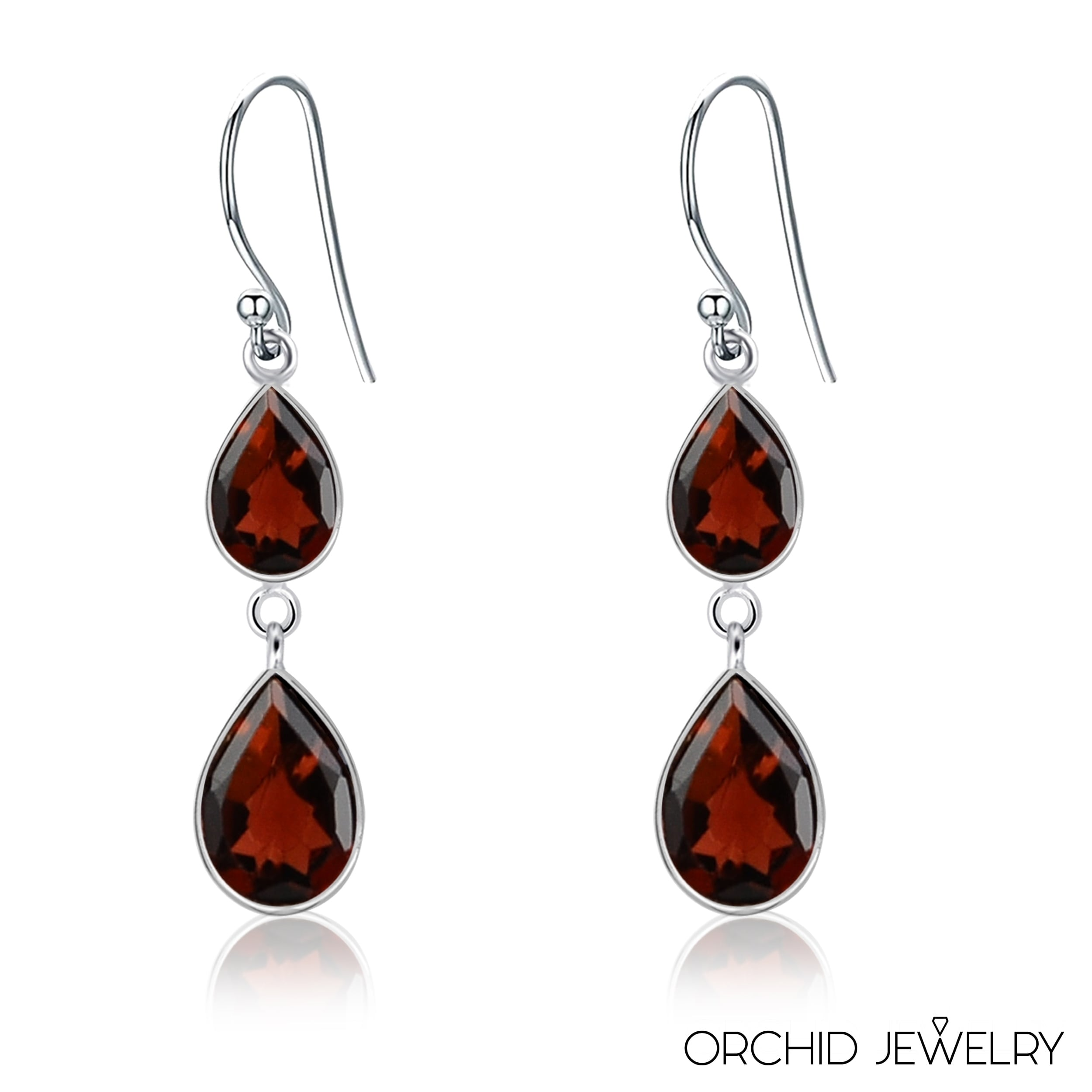 Earrings Natural Amber Gold Pear Gemstones in Sterling Silver Dangle Design Stud
