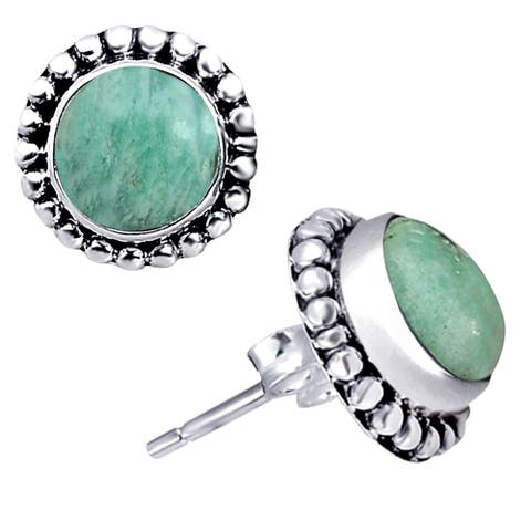 Amazonite Sterling Silver Round Stud Earrings by Orchid Jewelry