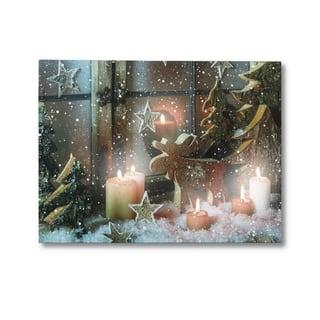 LED Christmas Reindeer Canvas Art Print