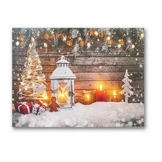 Gingerman & Christmas Lantern Canvas Art Print