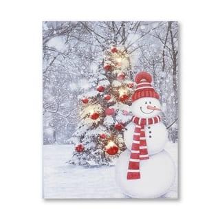 LED Christmas Snowman Canvas Art Print