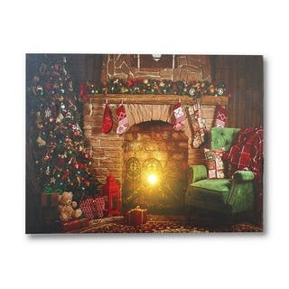 Christmas Fireplace with Garland Canvas Art Print