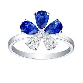 18kt Gold Blue Sapphire Natural Diamond Ring Handmade Jewelry