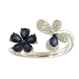 18kt Gold Diamond Sapphire Natural Gemstone Ring Handmade Jewelry