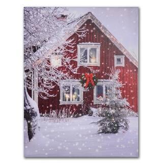 LED Snowy House Winter Scene Canvas Art Print