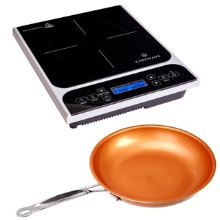 ChefWave LCD 1800W Induction Cooktop Countertop Burner and Frying Pan