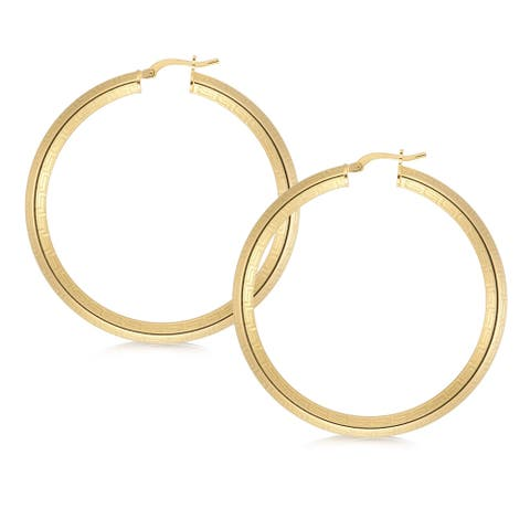 Forever Last 18 k Yellow Gold Plated Greek Key Hoop Earring