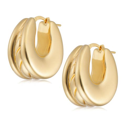 Forever Last 18 k Yellow Gold Plated Oval Electroform HoopEarring